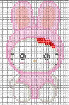 Free Hello Kitty Cross Stitch Chart or Hama Perler Bead Pattern Beaded Cross Stitch, Crochet Cross, Crochet Chart, Cross Stitch Charts, Cross Stitch Designs, Cross Stitch Patterns, Motifs Perler, Perler Patterns, Beading Patterns