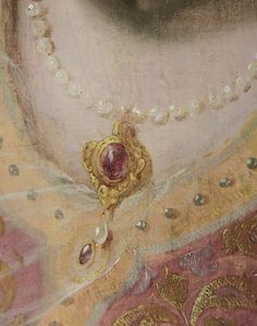 Antique Pearl Necklace with Gold Pendant: Detail Frans Hals Museum Painting.