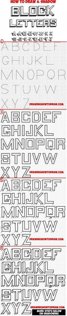 Learn How to Draw 3D Block Letters with Shadows on Wall Behind Them - Step by Step Drawing Lesson