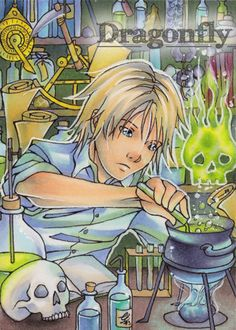 "#38 ""Experiments"" Illustration, Copic Art, Comic, Manga, ACEO Card / Kakao-Karte by Dragonfly Artworks"