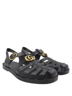 30039f15c Gucci Black Rubber with Gold Tiger Buckle Strap Fisherman Sz 8/8.5 Men's  Sandals