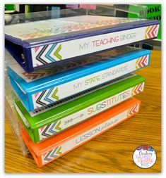Your CLASSROOM ORGANIZATION answer!  This is my latest binder - Navy Rainbow!  450+ pages of editable organization, CCSS checklists, Excel lesson planning and grade book options, and more!