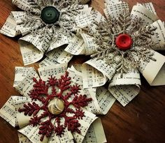 Crafting paper, retouched the Christmas atmosphere. Music Christmas Ornaments, Book Christmas Tree, Pink Christmas Decorations, Old Book Crafts, Christmas Crafts, Paper Crafts, Sheet Music Decor, Navidad Diy, Victorian Christmas