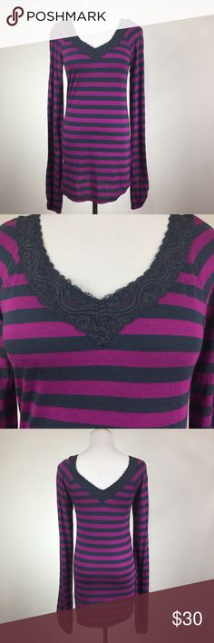 FREE PEOPLE LONG SLEEVE TOP NWT. Color is magenta and blue. Free People Tops Tees - Long Sleeve