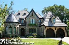 Imagine your home office inside the turret feature of house plan 17797LV