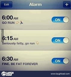 Fitness Motivation on my alarm . Diet Motivation Quotes, Fit Motivation, Fitness Quotes, Weight Loss Motivation, Fitness Tips, Fitness Workouts, Marathon Motivation, Workout Kettlebell, Funny Fitness