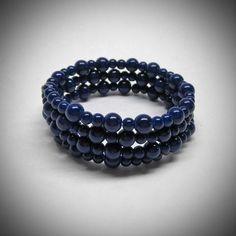 Dark blue glass bead memory wire bracelet by LadyBirdJewelry, $18.00