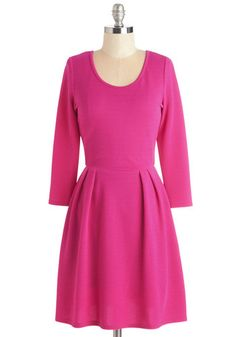 Bright from the Beginning Dress. Youve had a smile on your face ever since you zipped into this bright pink dress! #pink #modcloth