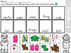 Singular and Plural Nouns Sort. No prep work required, just print and go!Common core aligned to regular plural nouns orally by adding /s/ or /es/ (e. wish, wishes).This packet has different activities for singular and plural nouns. Teaching Language Arts, English Language Arts, Speech And Language, Plurals Worksheets, Kindergarten Worksheets, Kindergarten Fun, Preschool, Singular And Plural Nouns, Nouns And Verbs