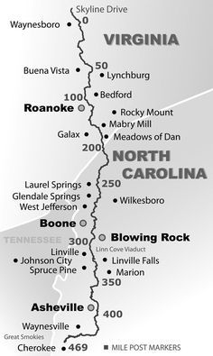 Simple Blue Ridge Parkway Map which takes us out of the Mountains of North Carolina to the Blue Ridge Mountains of Virginia. Simple Blue Ridge Parkway Map which takes us out of the Mountains of North Carolina to the Blue Ridge Mountains of Virginia. Nc Mountains, North Carolina Mountains, Blue Ridge Mountains, Great Smoky Mountains, South Carolina, Linville Falls, West Jefferson, Blowing Rock, Shenandoah National Park