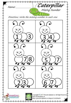 Here is caterpillar themed missing number worksheet for preschool, kindergarten, and first graders. This missing number Numbers Kindergarten, Free Kindergarten Worksheets, Numbers Preschool, Preschool Printables, Preschool Learning, Preschool Activities, Preschool Kindergarten, Teaching Numbers, Numbers For Kids