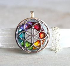 Seed of life necklace in rainbow
