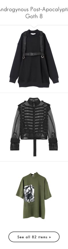 """""""Androgynous Post-Apocalyptic Goth 8"""" by nobody347 ❤ liked on Polyvore featuring outerwear, jackets, tops, coats & jackets, military jacket, lace jacket, cropped jacket, sacai, organza jacket and t-shirts"""