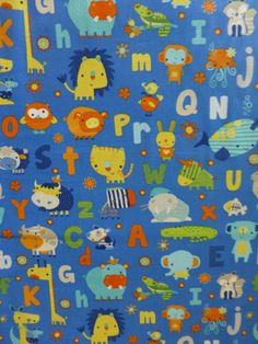 A is For Alligator~Animals and Letters on Blue~Cotton Fabric, Quilt,by Northcott, Fast Shipping CH222