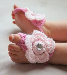 Baby Barefoot Crochet Sandals in Pink by BellaBumbleBee on Etsy, haha so cute for a baby shower gift :)