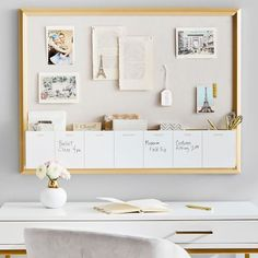 Hung above a desk, our Pinboard with Dry Erase Calendar Cubby is the ultimate must-have for your work space. Incorporate this organizational piece into your space to stay on track in style. Designed with seven cubbies labeled with each day of the w… Office Wall Organization, Office Wall Decor, Office Walls, Office Chairs, Dry Erase Calendar, Diy Calendar, My New Room, My Room, Diploma Display