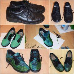Rostrose: Flache Schuhe, DIY-Schuhe, schöne Blüten und frühjahrsmüde Katzen