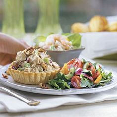 Honey-Chicken Salad, Shrimp Salad, and Tomato & Cucumber Salad   http://www.ppizzavino.com/