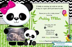 Panda Baby Shower Invitation - Panda Bear Invitation