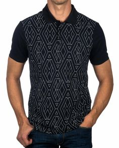 Polo ARMANI EXCHANGE ® Azul Geométrico | ENVÍO GRATIS Polo Shirt Outfits, Mens Polo T Shirts, Cool T Shirts, Men Sweater, Men Casual, Mens Fashion, Mens Tops, Emporio Armani, Lacoste