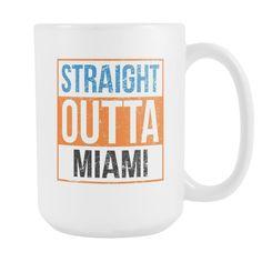 Straight Outta Miami Baseball Coffee Mug, 15 Ounce