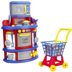 Just Like Home My Very Own Kitchen and Shopping Cart Playset - MADE in USA by Geoffery. $49.55. Set of 18 accessories includes a measuring cup, a phone, a pot with lid, 2 pans, 2 cups, a spatula and cooking spoon, 2 cups, and 6 pieces of flatware. Contains kitchen set, accessories set, plastic cart, and 14 play prepared-food boxes. Shop for food and bring it home to cook with the Just Like Home My Very Own Kitchen and Cart Playset. 100 % MADE In USA. Worry fre...