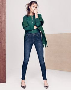 NOV '15 Style Guide: J.Crew women's Jackie cardigan sweater, lookout high-rise jean in Sanford wash, Italian brushed scarf and Collection Dulci calf hair kitten-heel pumps.