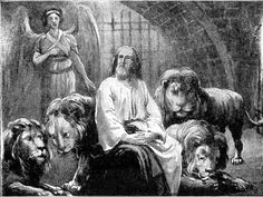 """DANIEL IN THE DEN OF LIONS  """"My God hath sent His angel, and hath shut the lions' mouths, that they have not hurt me."""" Dan. 6:22."""