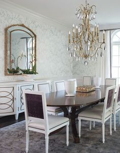 We carry this Hudson Valley luxury crystal chandelier which comes in an Aged Brass finish and Polished Nickel finish. It has dripping prisms of crystal, a body of crystals along the column, and is finished with a robust crystal finial. Dining Chairs, Dining Room, Dining Table, Hudson Valley Lighting, Polished Nickel, Luxury, Furniture, Crystal Chandeliers, Brass