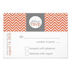 Modern Chevron Wedding RSVP Response Orange Custom Invite