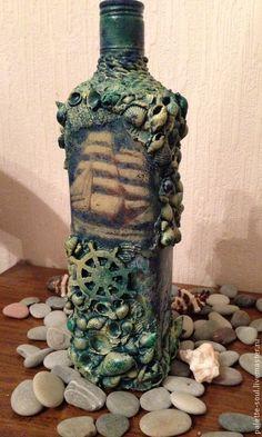 Купить Бутылка Морские глубины - темно-бирюзовый, бутылка декоративная, бутылка в подарок, мужчине