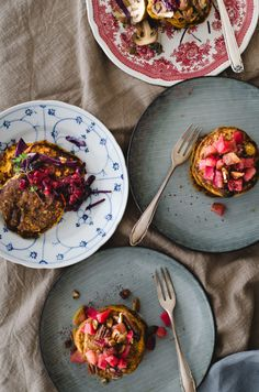 Sweet potato pancakes topped with apple-nut compote