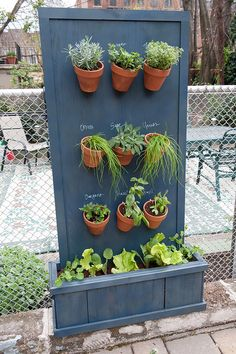 Vertical Herb Garden - drill holes in rim of terra cotta pots, hang simply with hooks