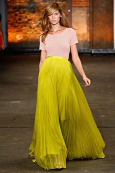 You know I love wide leg pants. The pleats on these sheer neon pants make them wider than my widest dreams!