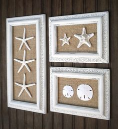 Trio of Coastal Wall Decor Cottage Chic by OMearasCottageCharm, $129.99 - could totally copy this idea with burlap and shells from Hobby Lobby