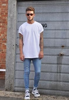New Plain White Oversized Crew Neck Tee t shirt. Not sure about the shoe choice though