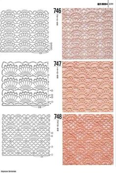 DODA CROCHET: Tantissimi punti uncinetto con schema - Crochet stitch with patterns Inspirations Croche with Any Lucy: Dress Crochet Edging Patterns, Crochet Motifs, Crochet Cardigan Pattern, Crochet Diagram, Tunisian Crochet, Crochet Chart, Knitting Patterns, Crochet Books, Crochet Home