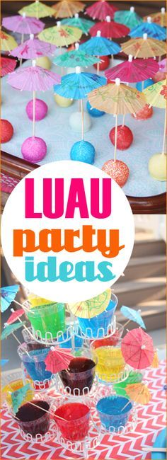 Luau Party Ideas. Great theme for an anniversary, sweet 16 or kid party. Hawaiian party decorations, food and goodies. Darling Hawaiian cupcakes and cake pops.