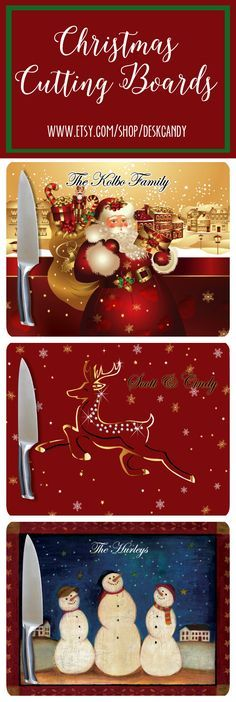 Personalized Christmas Cutting Boards. This is the perfect Christmas gift for friends and family. DeskCandy's cutting boards are so cute:)