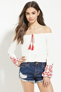 FOREVER 21 embroidery off-the-shoulder top