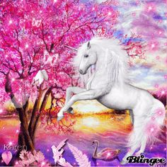 Autumn Unicorn By The Pink Tree