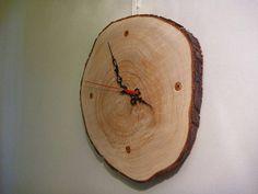 Homemade rustic tree stump clock on Etsy, $30.00