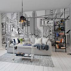 Cartoon City panneau papier peint wallpaper noir blanc white Black