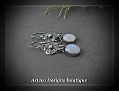 Moonlit Flower~ Moonstone Sterling Silver Artisan Earrings by AztecaDesignsBoutique, $135.00 USD