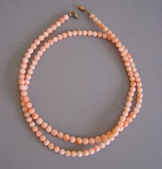 Coral bead necklace with barrel clasp