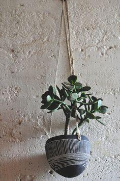 Hanging Planter w/ Line Design - Black and White Hanging Pot w/ Sgraffito Design in Vertical & Horizontal Lines - Succulent Planter - OOAK