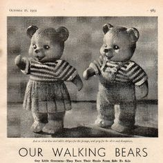 1954 October 16th Womans Weekly, Rose Buds, Knitting Patterns, October, Walking, Creatures, Teddy Bear, Dolls, Crochet