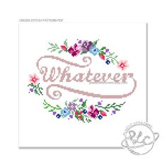 Whatever. Modern Floral Cross Stitch by plasticlittlecovers