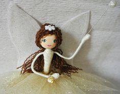 Winter Fairy Godmother - Glinda Tree Topper Fairy - Christmas Fairy OOAK art doll