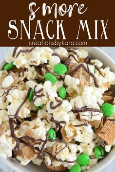 Recipe for fun and yummy St. Patricks Day S'more Snack Mix - A perfect St. Patrick's Day recipe. Change out the color of M&M's for smore snack mix any time of year. #stpatricksdayfood #stpatricksdayrecipe #snackmix #smoresnackmix #greenfood -from creationsbykara.com Yummy Appetizers, Appetizers For Party, Appetizer Recipes, Dinner Recipes, Great Recipes, Simple Recipes, Candy Recipes, Family Recipes, Drink Recipes